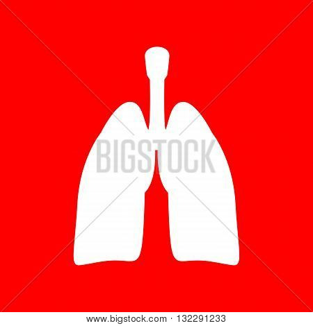Human organs Lungs sign. White icon on red background.
