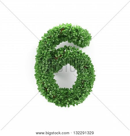 Green Leaves 6 Six Ecology Digits Alphabet Font