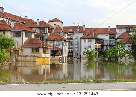 Flooded Houses and Street Under Water in Obrenovac Serbia