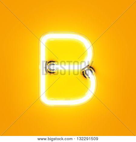 Neon Light Alphabet Character B Font