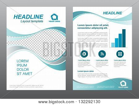 Layout flyer template size A4 cover page Wave Turquoise gray tone Vector design
