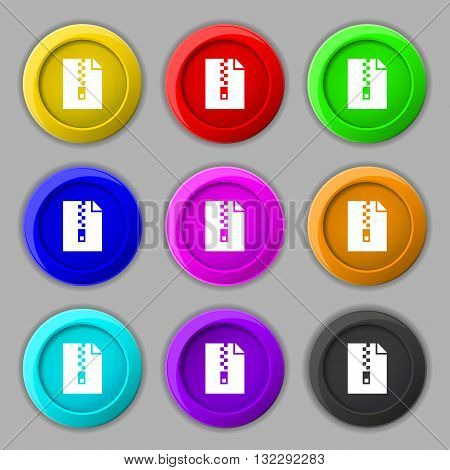 Computer Zip Folder, Archive Icon Sign. Symbol On Nine Round Colourful Buttons. Vector