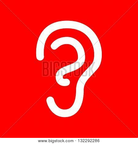 Human ear sign. White icon on red background.