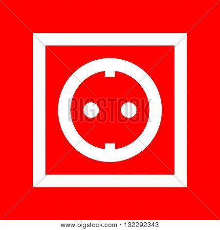 Electrical socket sign. White icon on red background.