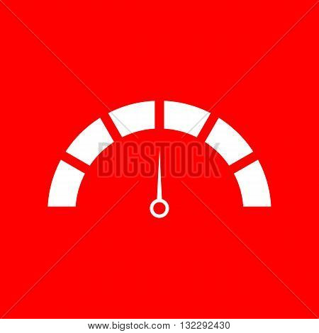 Speedometer sign illustration. White icon on red background.