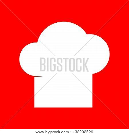 Chef cap sign. White icon on red background.