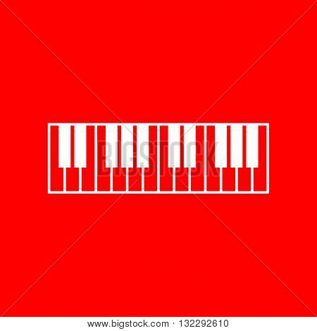 Piano Keyboard sign. White icon on red background.