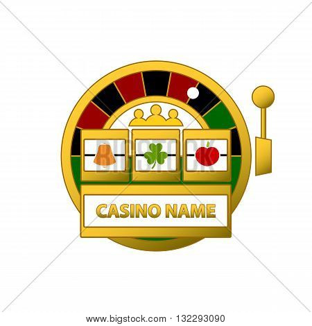 Slot machine and roulette logo vector illustration isolated on white background