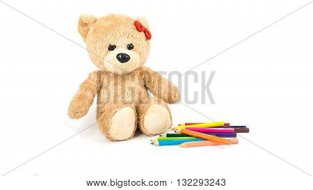 Children free time teddy bear color pencil happy summer time