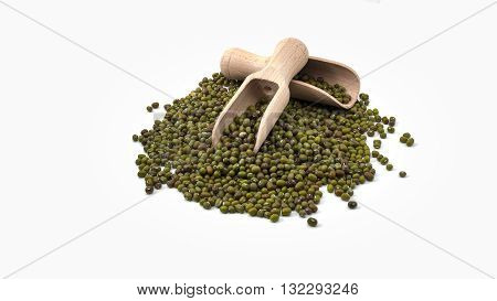 Raw green beans or mung beans on white background one of the diet food
