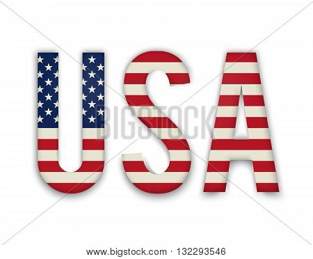 American United States Flag in glossy form button of icon. USA emblem isolated on white background. National concept sign. Independence Day Symbol. 4 July freedom patriotic banner with pride color