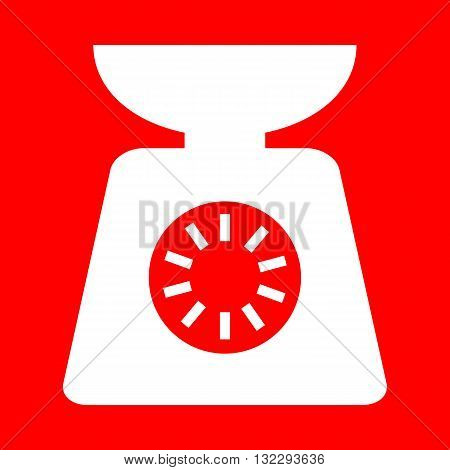 Kitchen scales sign. White icon on red background.