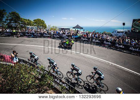 MELBOURNE, AUSTRALIA - FEBRUARY 7: Team Sky lead out front at Rapha corner up the Arthurs Seat climb on Stage 4 on the final day of the Jayco Herald Sun Tour 2016
