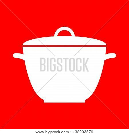 Saucepan simple sign. White icon on red background.