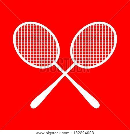 Tennis racquets sign. White icon on red background.