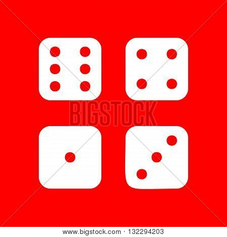 Devils bones, Ivories sign. White icon dice on red background.