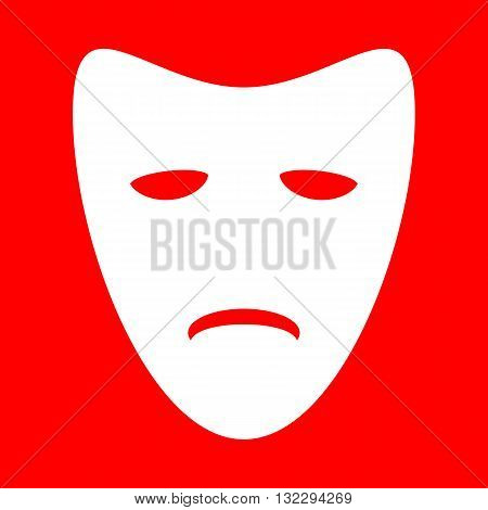 Tragedy theatrical masks. White icon on red background.