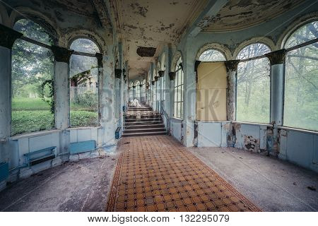 Tskaltubo Georgia - April 24 2015: interior of former resort of the Ministry of Defense of the Soviet Union where Joseph Stalin used to spent his vacations. Today it is Tskaltubo Spa Resort hotel.