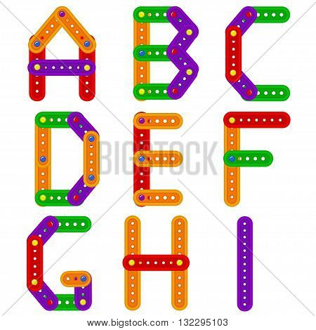 alphabet from constructor from A to I - vector illustration, eps