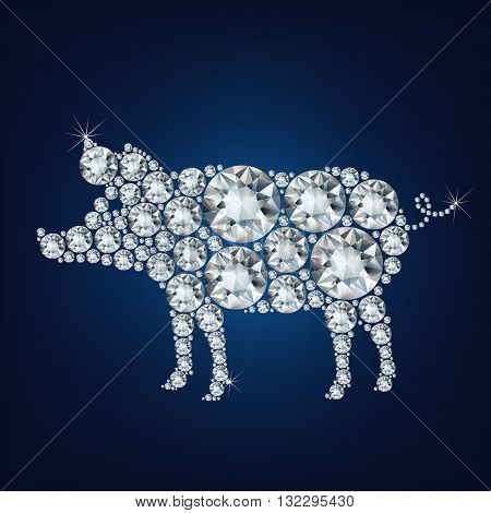 Happy new year 2019 creative greeting card with Pig made up a lot of diamonds