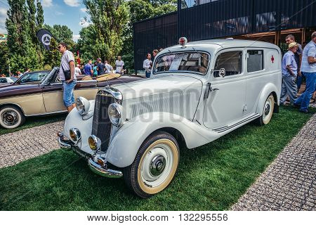 Warsaw Poland - August 2 2015: Mercedes W136 170 V ambulance from 1950 during retro cars show in Warsaw