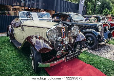 Warsaw Poland - August 2 2015: Mercedes W21 200 from 1936 roadster sport from 1936 during retro cars show in Warsaw
