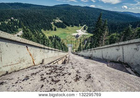 Ilidza Bosnia and Herzegovina - August 24 2015. Abandoned Jumps on the mountain of Igman in Ilidza. The Objects was built for Games in 1984