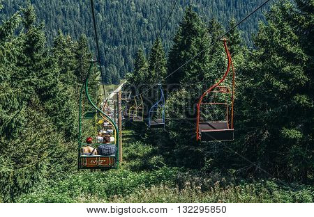 Ilidza Bosnia and Herzegovina - August 24 2015. Ski lift of Olympic Jumps on the mountain of Igman in Ilidza. The Objects was built for Winter Olympic Games in 1984