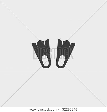 Flippers Icon in a flat design in black color. Vector illustration eps10