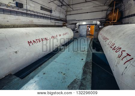 Konjic Bosnia and Herzegovina - August 25 2015. Water tanks in ARK (Atomska Ratna Komanda) Nuclear Command Bunker built between 1953 and 1979 for Josip Broz Tito