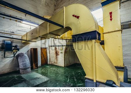 Konjic Bosnia and Herzegovina - August 25 2015. air ducts in ARK (Atomska Ratna Komanda) Nuclear Command Bunker built between 1953 and 1979 for Josip Broz Tito