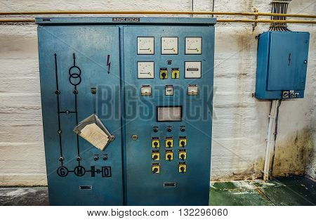 Konjic Bosnia and Herzegovina - August 25 2015. Generators control panel in ARK (Atomska Ratna Komanda) Nuclear Command Bunker built between 1953 and 1979 for Josip Broz Tito
