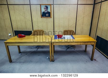 Konjic Bosnia and Herzegovina - August 25 2015. Desk in conference room of ARK (Atomska Ratna Komanda) Nuclear Command Bunker built between 1953 and 1979 for Josip Broz Tito