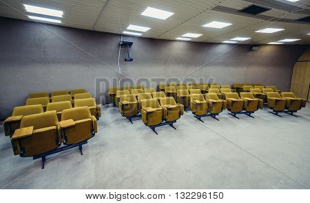 Konjic Bosnia and Herzegovina - August 25 2015. Chairs in conference room of ARK (Atomska Ratna Komanda) Nuclear Command Bunker built between 1953 and 1979 for Josip Broz Tito