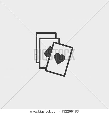 game cards icon in a flat design in black color. Vector illustration eps10