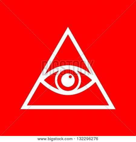 All seeing eye pyramid symbol. Freemason and spiritual. White icon on red background.