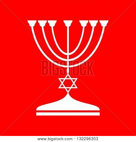 Jewish Menorah candlestick in black silhouette. White icon on red background.