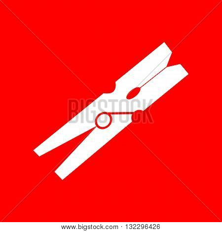 Clothes peg sign. White icon on red background.
