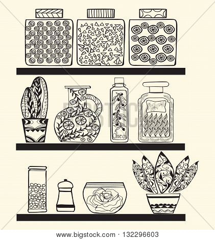 kitchen or pantry shelves with goods for your design.Rustic style kitchen Black and white doodle background