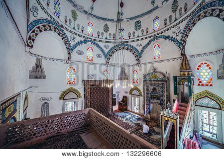 Mostar Bosnia and Herzegovina - August 25 2015. Interior of 17th century Koski Mehmed Pasha Mosque in Mostar