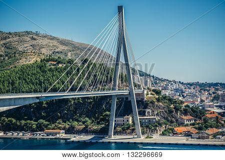 Dubrovnik Croatia - 26th August 2015. Franjo Tudjman Bridge in Gruz neighborhood od Dubrovnik