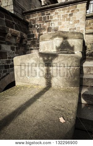 Lantern shadow on the old stonewall as background