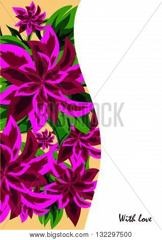 Greeting cards with abstract purple flowers in ethnic style for declarations of love a gift for a loved one or a donation for the holiday