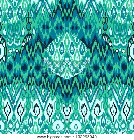 Patchwork ethnic bohemian arabesque pattern print. Seamless zigzag geometric ornament abstract background. Colorful tribal graphic ethnic bohemian print vintage