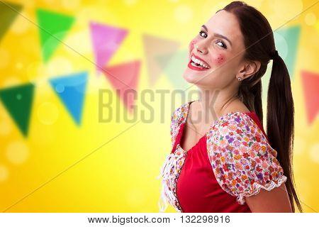 Young Brazilian girl wearing junina costume