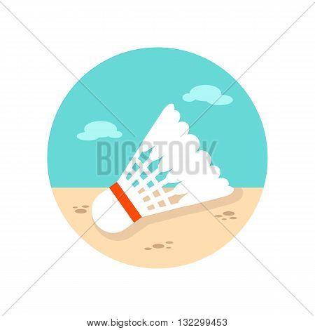 Shuttlecock for badminton sport vector icon. Beach. Summer. Summertime. Vacation eps 10