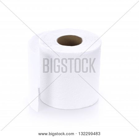 Toilet paper on white background roll restroom