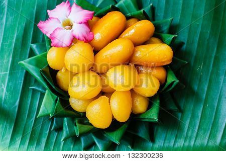 Thai Dessert, Thai Sweets On Banana Leaf.