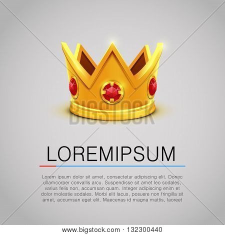 Golden king crown with red jewels background. King crown. Golden crown. Isolated crown image. Crown picture. King crown with jewelry. Crown vector. Vector illustration