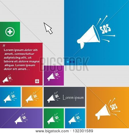 Sos Web Speaker Icon Sign. Buttons. Modern Interface Website Buttons With Cursor Pointer. Vector